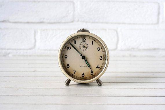 Vintage German Traditional Alarm Clock Cream by CirceCollectables