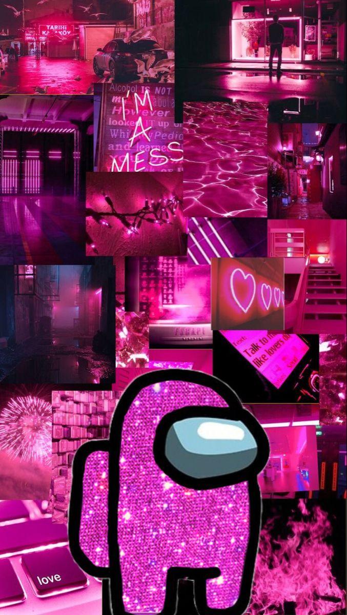 pink aesthetic among us iPhone wallpaper | Pink neon ...