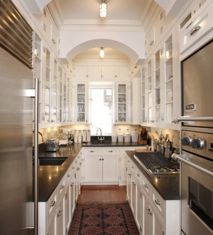 48 best images about home kitchen on pinterest luxury for Very narrow galley kitchen