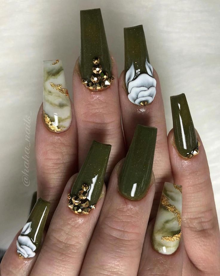 1158k 3d Coffin Color Fall Flowers Fo Green Marble Nail Nailcolorcoffinshape Nails Olive Shape Fall N Green Nails Olive Nails Green Acrylic Nails