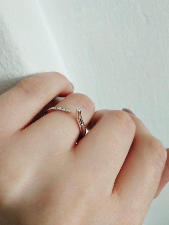 Unique engagement ring Diamond engagement ring 14K White