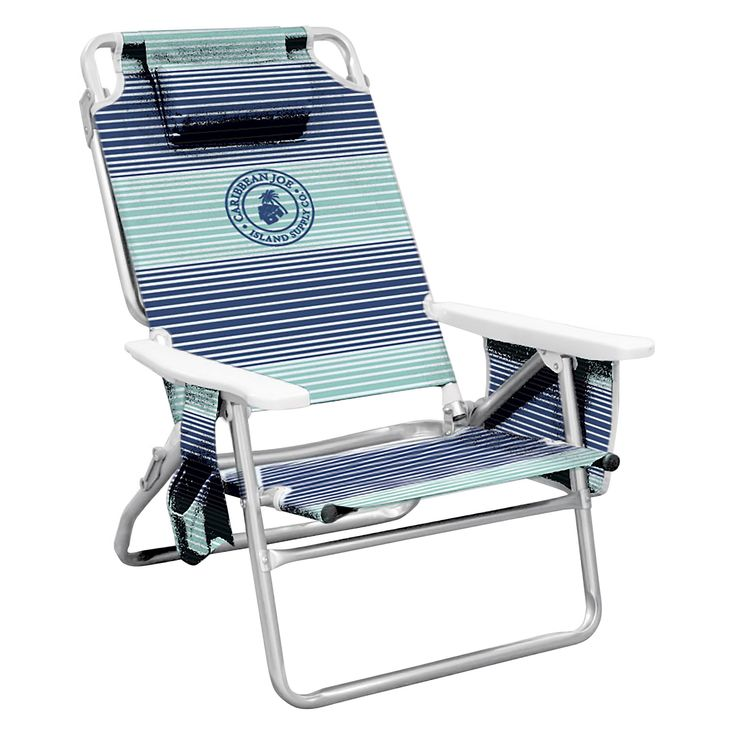 Caribbean Joe Five Position Folding Beach Chair with Pocket Organizer - Horizon Stripe Print