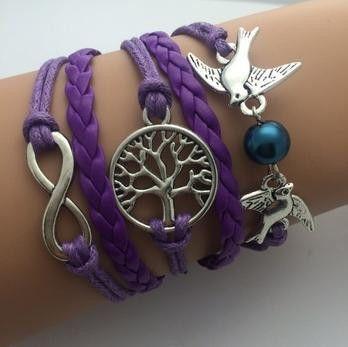 Leather Infinity Bracelets - Owl
