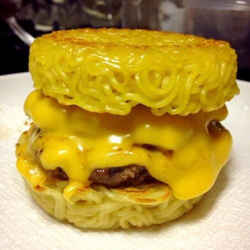Ramen burger. Yes, I know that ramen is evil, but that doesn't mean I don't want one! I added a egg on top and made a sauce using sweet soy sauce, sweet chili sauce, and a little oyster sauce