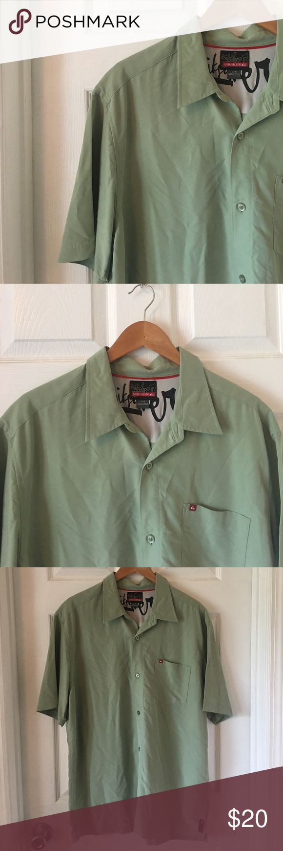 Super Soft Button Down Super cute Quicksilver casual button down shirt. Super soft. Green. EUC, barely worn. One front pocket. Extra button included. Fabric: 70% Rayon 30% Polyester Quicksilver Shirts Casual Button Down Shirts