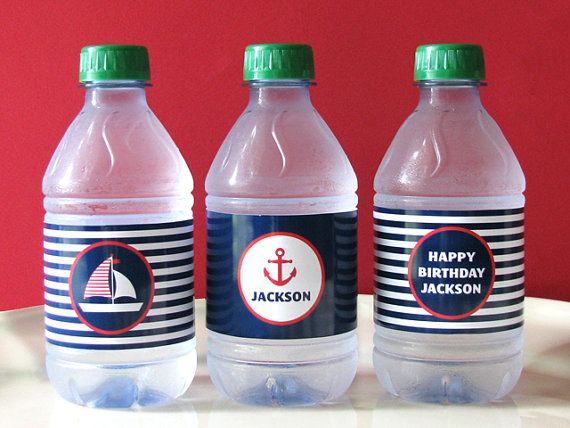 Nautical Birthday - Nautical Printable - Drink Wrap - first birthday - Printable Party - sail boat - Boy Birthday - Girl Birthday via Etsy