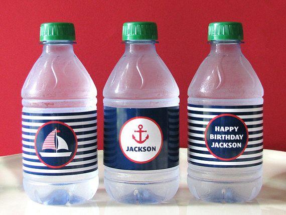 Nautical Printable - Drink Wrap - first birthday - Printable Party - birthday party - sail boat - baby shower - Boy Birthday - DIY Printable