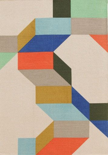 Colour block geometric flat woven rug on Etsy, $289.69