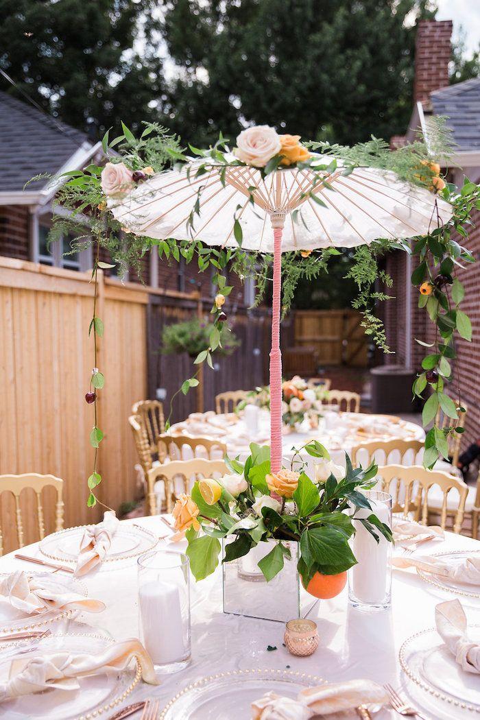 umbrella table centerpiece from an umbrella bridal shower on karas party ideas karaspartyideascom 6