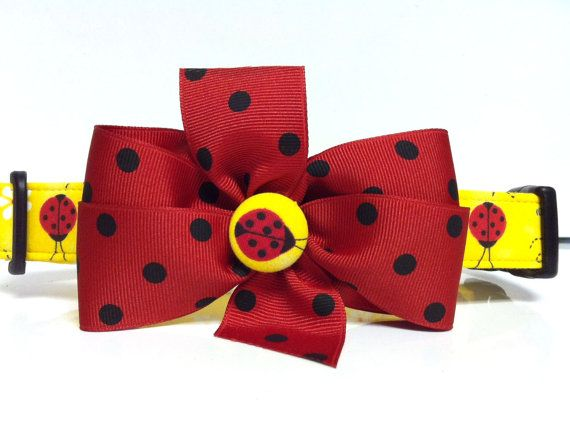 The Yellow Ladybug XS Small or Medium Adjustable by LuLusCollars, $9.00