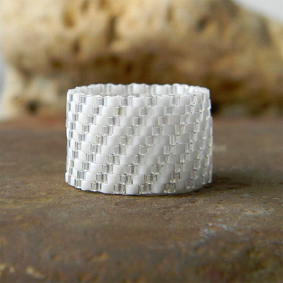 Ring made of Japanese delica seed beads. Band width - 13 mm Size - 8 (US)  -------More beaded rings from my shop you can see here:-------
