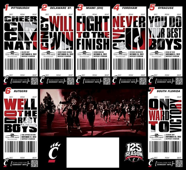 UC Bearcats Season Tickets Design Sports Pinterest - how to design a ticket for an event