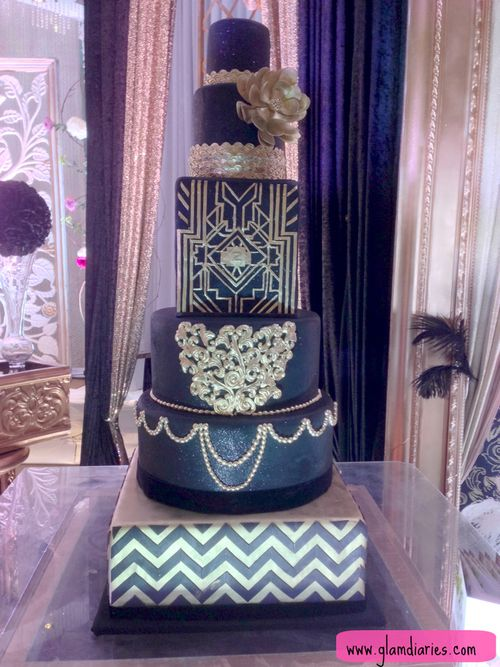 Ornate Navy and Silver Wedding Cake that would have gone great with The Great Gatsby tasting theme that Affordable Catering did!