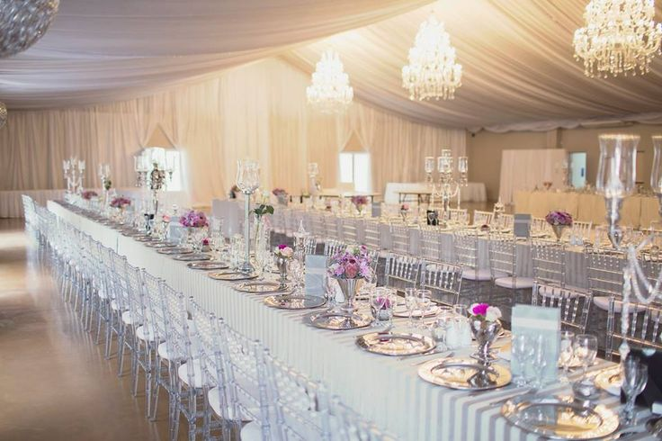 Banquet style seating at Running Waters Wedding Venue, Port ...