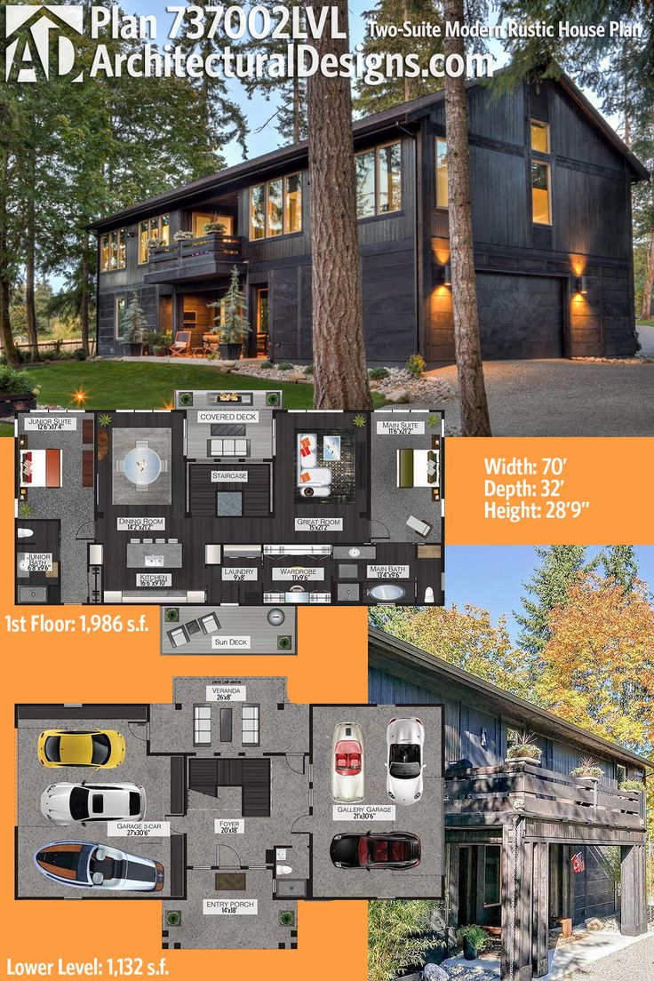 Architectural Designs Rustic Modern House Plan 737002LVL has two 3-car drive-under garages, 2 beds and over 3,000 square feet of heated living space. Ready when you are. Where do YOU want to build? – julie g