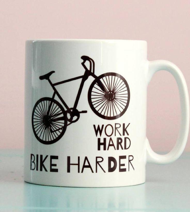 'bike harder' bike mug by kelly connor -   .. .