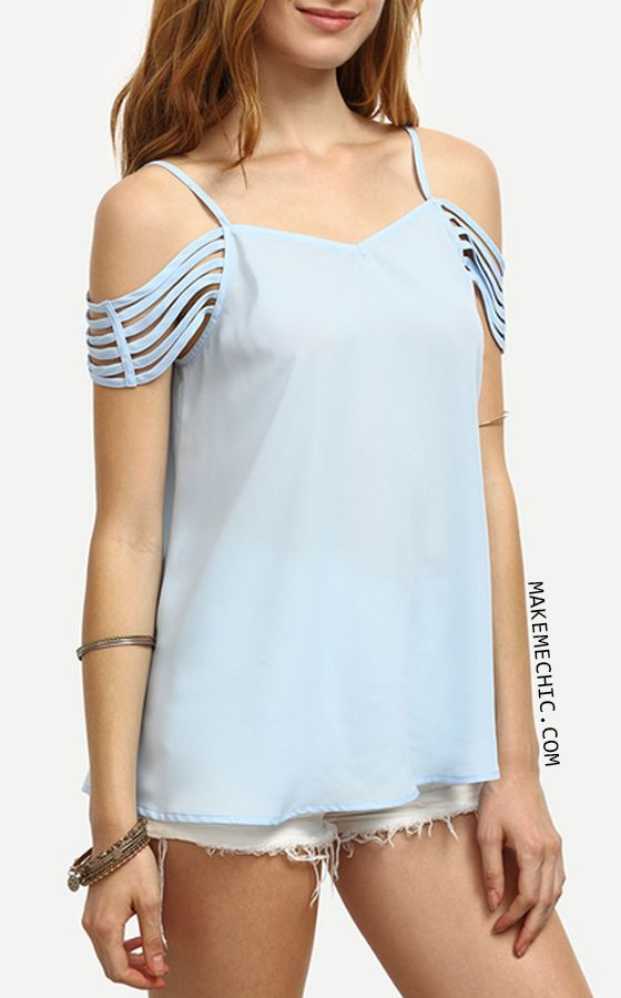 Blue Spaghetti Strap Cold Shoulder Blouse