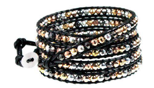 Lyric Black Leather Beaded Wrap Bracelet Extra Long 39 Inch 5x Wrap Edgy Lyric Metal Beaded Black Leather Wrap Bracelet. Long 39 Inch Leather Bracelet Wraps 5x Around on 6 to 7.5 Inch Wrists. Adjustable Loops and Silvertone Button Closure. Arrives Ready To Give in Foil Linen Gift Box.  #BeautifulSilverJewelry #Jewelry