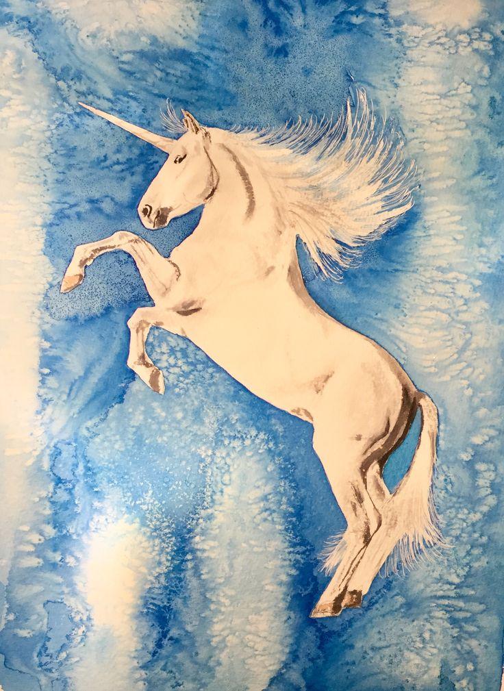 Unicorn.& Bleach  #Watercolour #art