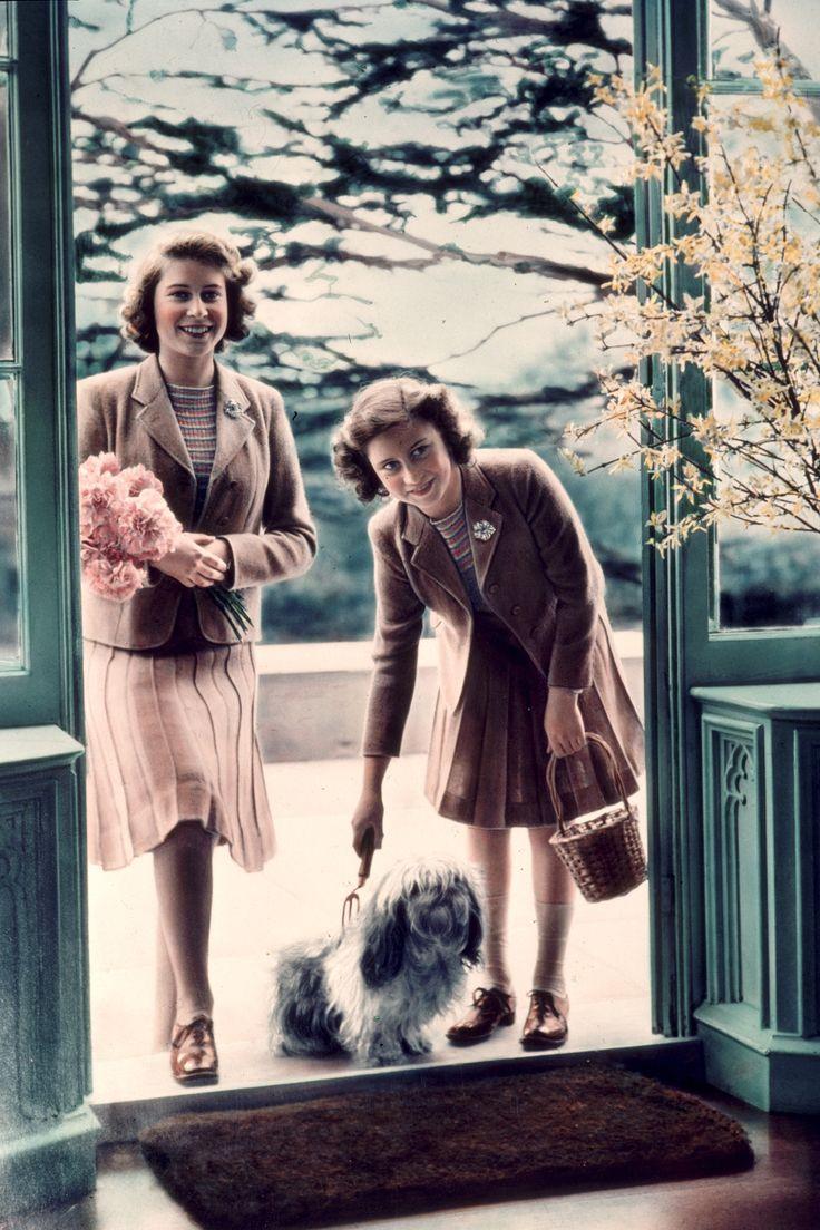 Princesses Elizabeth and Margaret Rose 1942   - TownandCountryMag.com