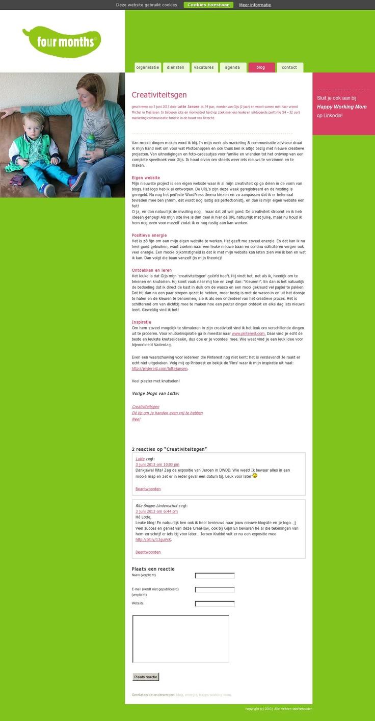 Lees mijn nieuwe #blog voor Four Months over samen mooie dingen maken: het creativiteitsgen http://www.fourmonths.nl/creativiteitsgen