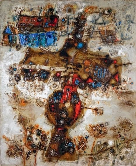 Theo Tobiasse L'ABAT JOUR ET LA CHAUMIÈRE 28.74 X 23.62 in (73 X 60 cm) oil on canvas Signed