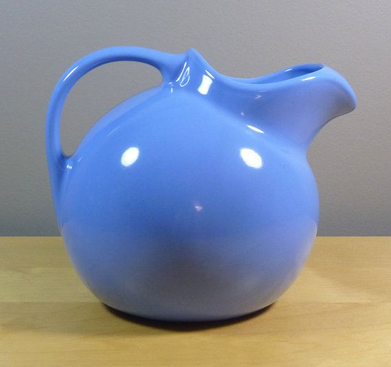 Hall China Ball Pitcher With Ice Lip Light Blue by TheGreenFinch, $30.00