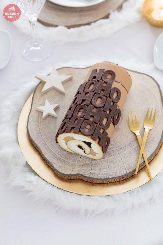 Hohoho aus Marzipan - Einfache Idee für Kuchen und Torten zu Weihnachen. Hier die Cappucchino-Sahne Rolle aus der Conditorei Coppenrath & Wiese