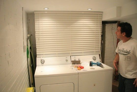 Hide unsightly pipes in the basement behind mini-blinds.   42 Ingeniously Easy Ways To Hide The Ugly Stuff In Your Home