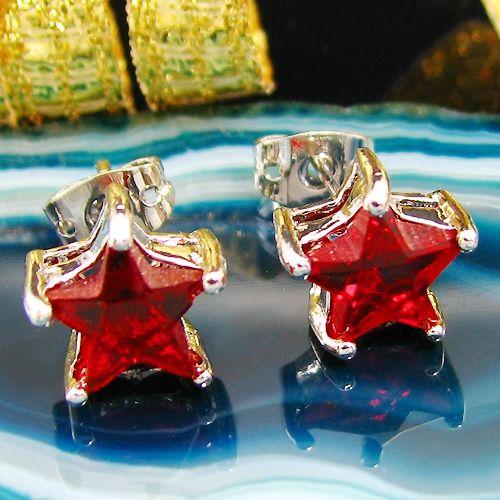 Cercei stea placati cu aur alb 18k cu rubine rosii