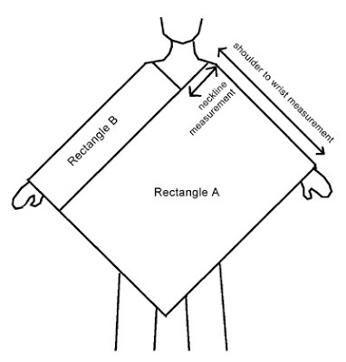 "FINALLY :-) Bumbling Bees: Universal Poncho Pattern You could use two identical rectangles and join them end to side where ""rectangle A"" is the length as the image shows, plus the length of B on the 2-D image...Raverly has the pattern measurements for that"