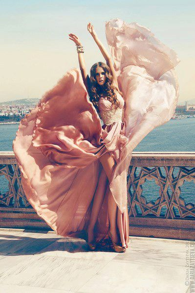 Pink flowing movement, high fashion photography....gypsy soul...