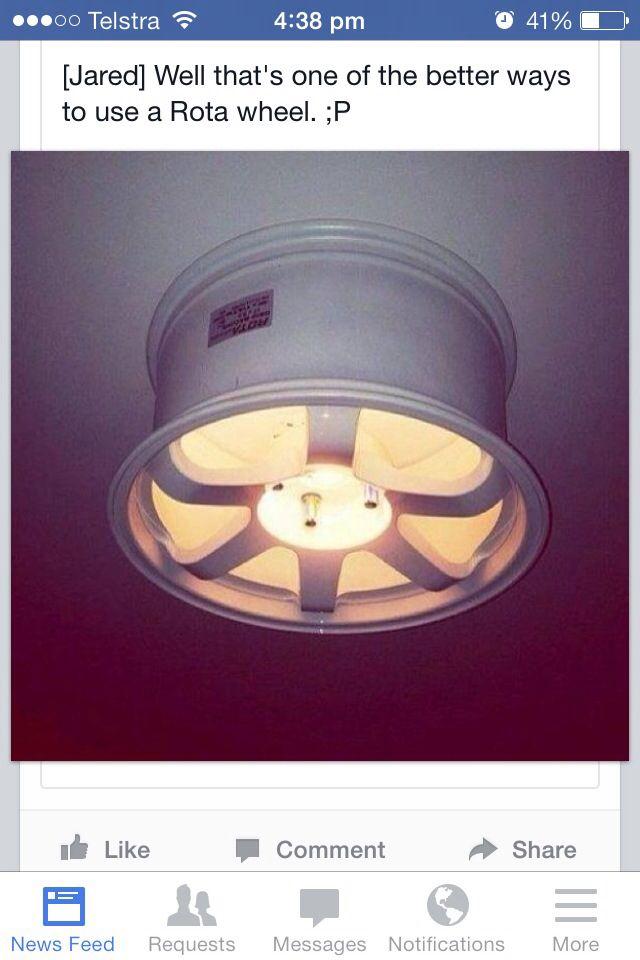 Garage man cave light. White Powder coated wheel #powdercoating