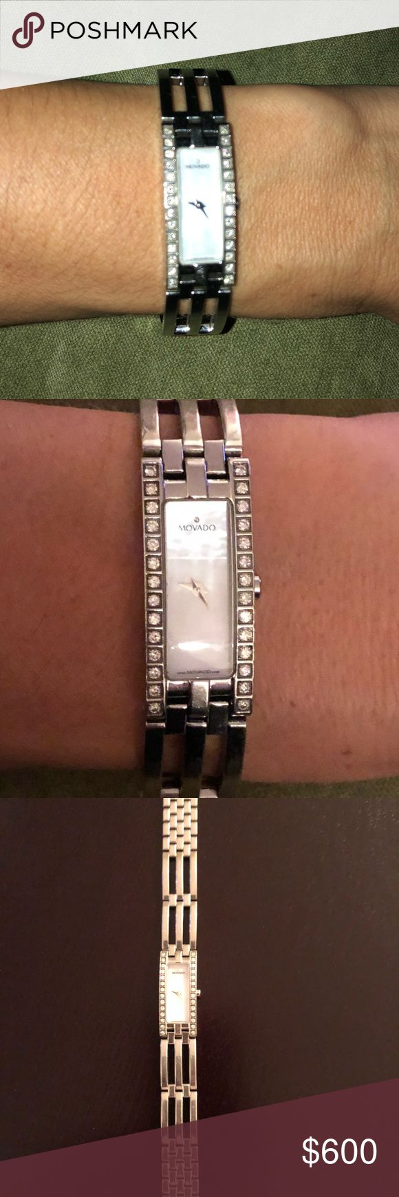 Women's Movado watch Women's beautiful Movado watch. Sterling silver with mother of pearl face. It has 14 diamonds on each side. Movado Accessories Watches