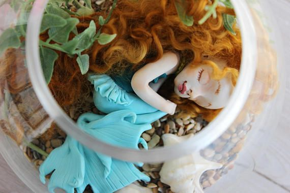Sleeping mermaid #Artclay #doll #Collectingdoll