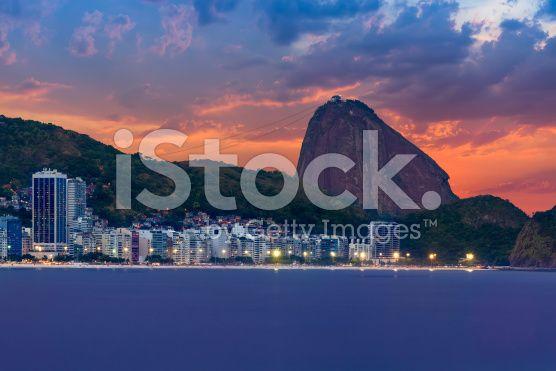 Sunset view of Copacabana, mountain Sugar Loaf. Rio de Janeiro royalty-free stock photo