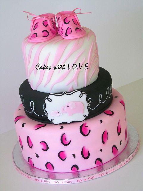 Elegant Pink Safari Baby Shower Cake