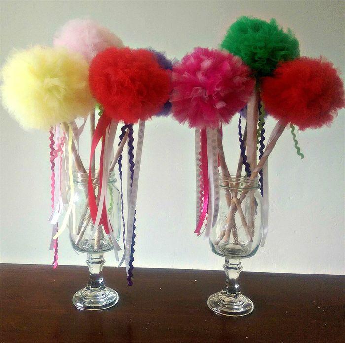 Tulle Pom Pom fairy wand  www.madeit.com.au/moobearcreations www.facebook.com/moobearcreations