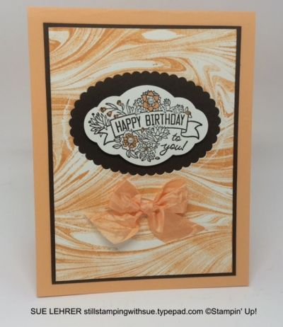 Label Me Pretty Stamp Set  Marbled Background Stamp  Layering Ovals Framelits  Peekaboo Peach Crinkled Seam Binding Ribbon from Stampin' Up!-stillstampingwithsue.typepad.com