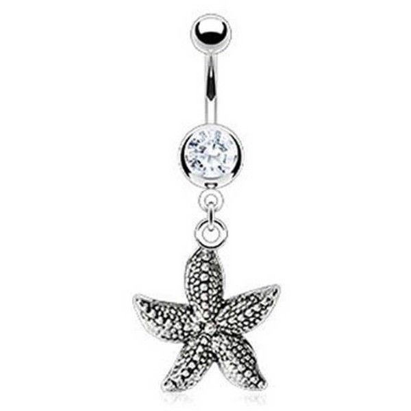 Bling Jewelry So Nautical Charm Body Jewelry ($13) ❤ liked on Polyvore featuring jewelry, belly, belly ring, piercings, body jewelry, body-piercing-rings, clear, dangle charms, starfish charm and body jewellery