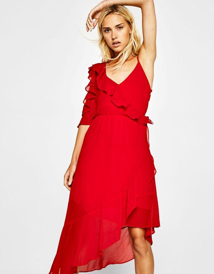 bershka volanlı asimetrik elbise