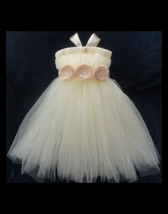 Champagne Flower Girl Dress by StrawberrieRose on Etsy, $89.95