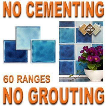 BLUE MIX: Box of 18 tiles 4x4 SOLID PEEL & STICK ON TILES apply over tiles or onto the wall ! by STICK AND GO TILES. $19.99. 18 tiles per box. Covers 2 Sq.Ft. (0.2) per box. No Cementing. No Grouting. STICK AND GO TILES are self adhesive wall tiles that look and feel just like ceramic tiles - but there is NO CEMENTING & NO GROUTING required ! Stick and Go tiles aren't just for walls, they can be used on any flat, clean surface and are perfect for tiling any area qu...