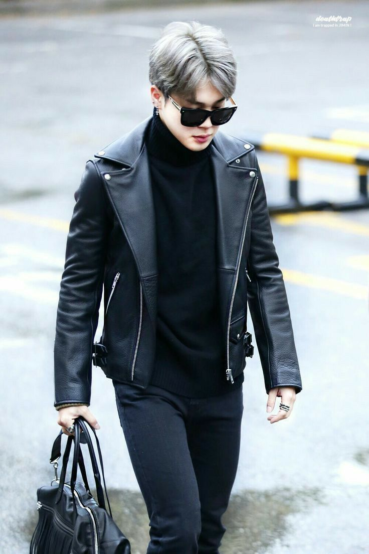 Bts Jimin In Grey Leather Jacket Outfits Leather Jacket Jacket Outfits [ 1104 x 736 Pixel ]