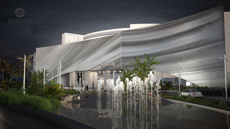ΦΩΤΙΣΜΟΣ ΠΡΟΣΟΨΗΣ ΞΕΝΟΔΟΧΕΙΟΥ  BUILDING FACADE - Recovery Building System made of perforated aluminium. Innovative Architectural Products. Life is in the details. www.metalaxi.com