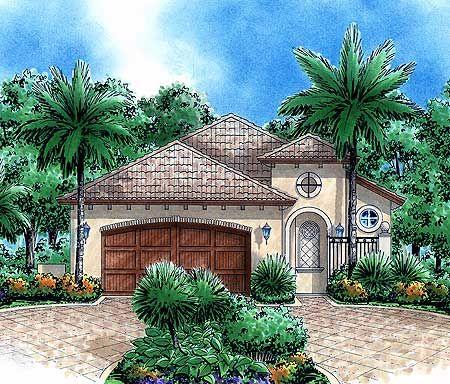 87 best house plans images on pinterest house floor for Narrow lot mediterranean house plans