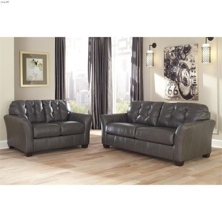 The Santiago Dark Grey Leather Sofa Collection 988 By Ashley Signature  Design