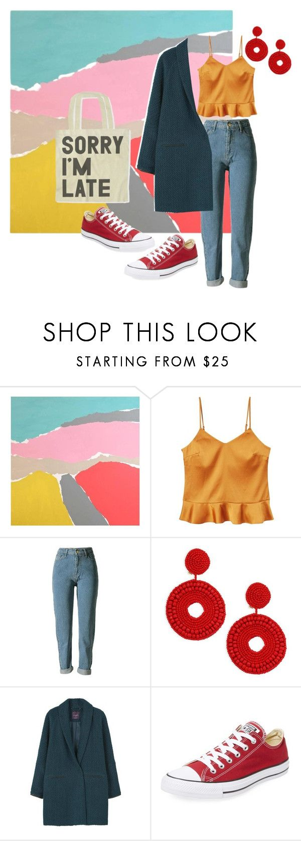 """happy"" by nover on Polyvore featuring Alan Fears, MANGO, Kenneth Jay Lane and Converse"