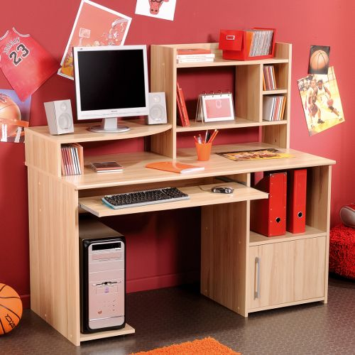 furniture teens bedroom teenager desk with natural wood finish computer keyboard drawer side 4 column book cabinet and cpu com - Teen Desks