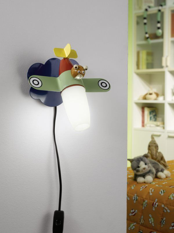 Best Eglo Lighting Siro LED Childrens Aeroplane Lamp Wall Light with Switch Satinated Glass
